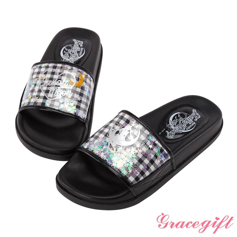 Grace gift-美少女戰士鐳射寬版休閒拖鞋 黑