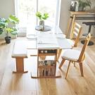 完美主義 日式鏡面伸縮餐桌椅組/1桌2椅1長凳