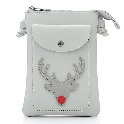 iSPurple 紅鼻子馴鹿 聖誕證件手機零錢側背包 大理石灰