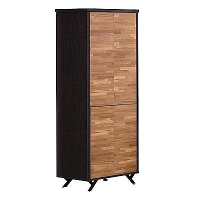 文創集 路華2.7尺雙色四門衣櫃/收納櫃(吊衣桿+開放層格)-80x55x203cm免組