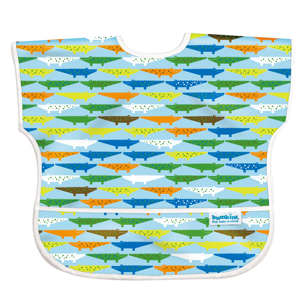 美國Bumkins兒童短袖防水圍兜-可愛鱷魚BKU-680