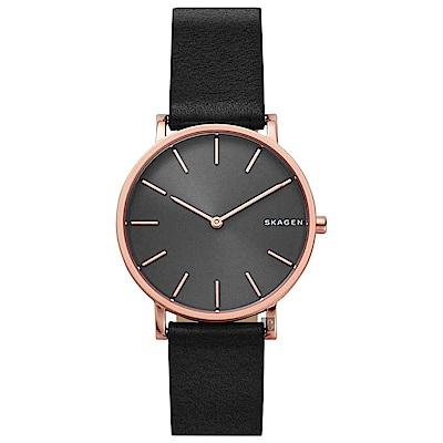 Skagen Signature 北歐簡約手錶(SKW6447)-黑x玫塊金框/38mm