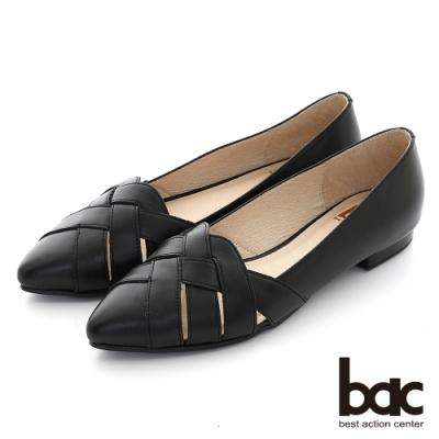 【bac】復古鏤空編織尖頭平底鞋-黑
