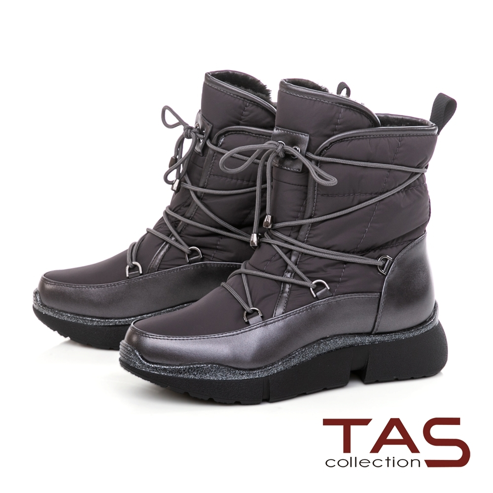 TAS素面防潑水抽繩雪地靴-質感灰