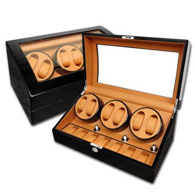 機械錶自動上鍊收藏盒 3旋6入錶座轉動+7入收藏 鋼琴烤漆 - 黃棕x黑