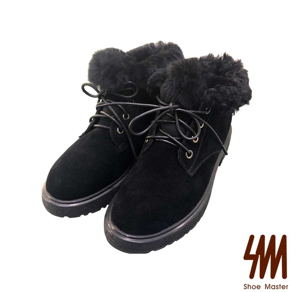 SM-英倫紳士風麂皮簡約絨毛短靴-黑色  (兩色)