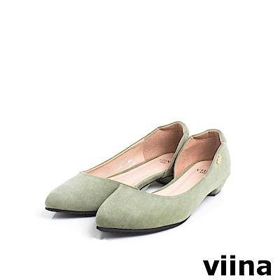 viinaBasic素面羊絨布內簍空尖頭鞋 - 淺墨綠
