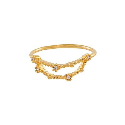 Wanderlust+Co 澳洲時尚品牌 水鑽十二星座系列 摩羯座金色戒指
