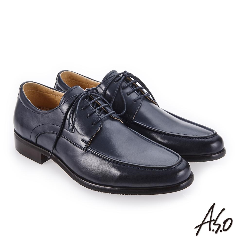 A.S.O 零壓挺力 臘感牛皮高透氣真皮鞋 深藍