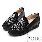 GDC-真皮水鑽玫瑰簍空舒適休閒鞋-黑色