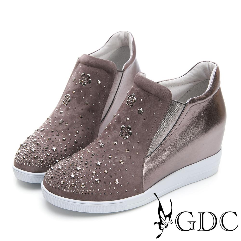 GDC-真皮高筒玫瑰水鑽內增高休閒鞋-灰色