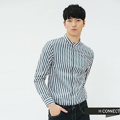 H:CONNECT 韓國品牌 男裝-直條紋七分袖棉麻襯衫-深藍