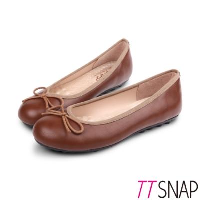 TTSNAP娃娃鞋-MIT簡約舒適OL必備平底鞋 咖