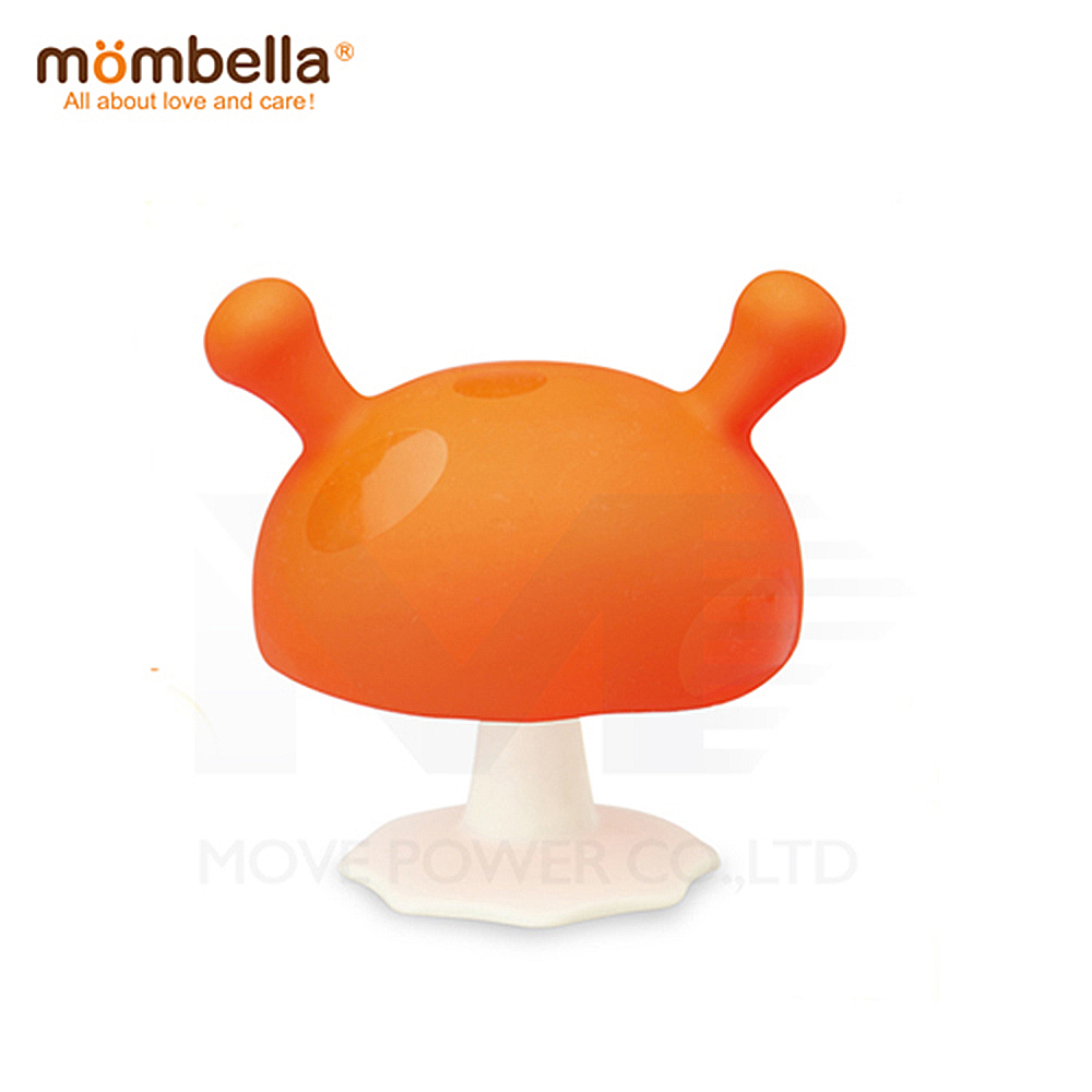 【任選】英國《mombella 》Q比小魔菇固齒器(橘色)