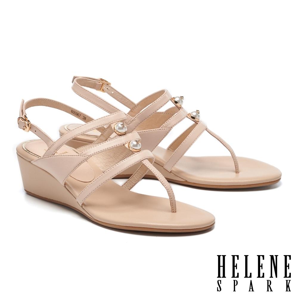 涼鞋 HELENE SPARK 高雅別致星鑽珍珠王字條帶楔型高跟夾腳涼鞋-粉