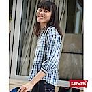 Levis 襯衫 女裝 短版7分袖 裙式下擺 袖口鬆緊帶 格紋