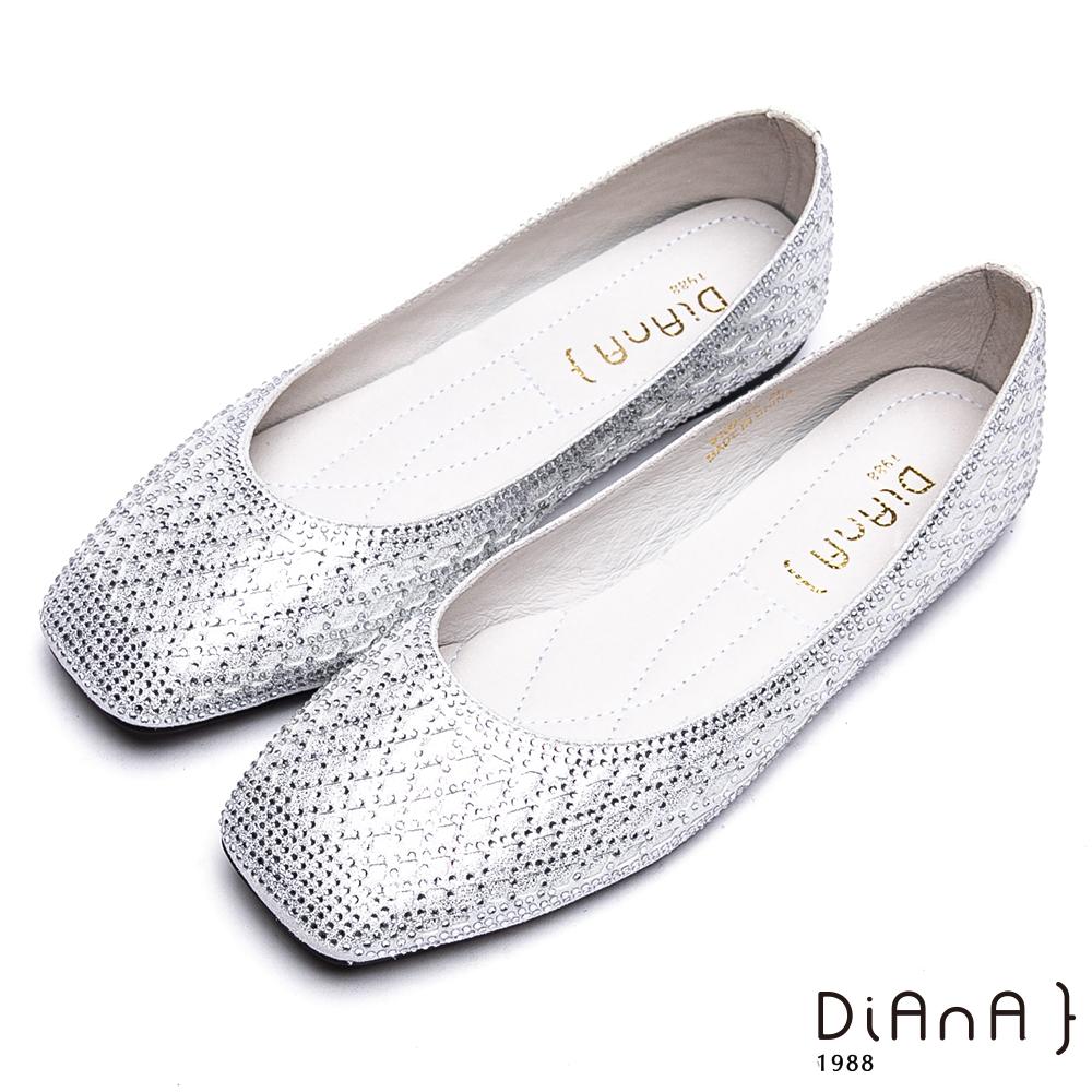 DIANA璀璨奢華-閃耀菱格水鑽方頭休閒鞋-銀