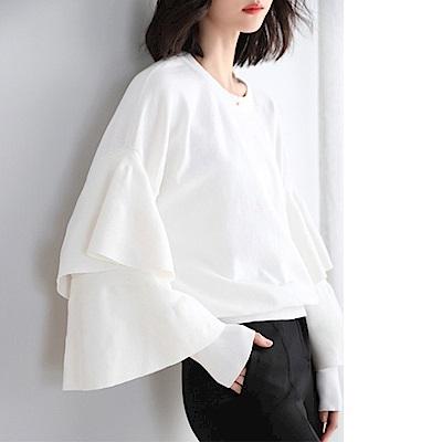 綻放  純色簡約喇叭袖針織衫-白色-(M-XL可選)