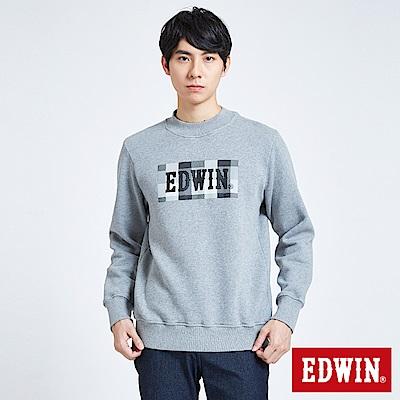 EDWIN 搖滾不死 小高領格紋LOGO長袖T恤-男-黑灰