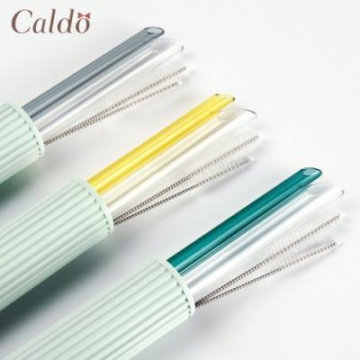 【Caldo卡朵生活】環保愛地球斜口玻璃吸管5件組(快)
