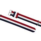 Watchband DW 各品牌通用 不鏽鋼扣頭 尼龍錶帶-紅x白x藍