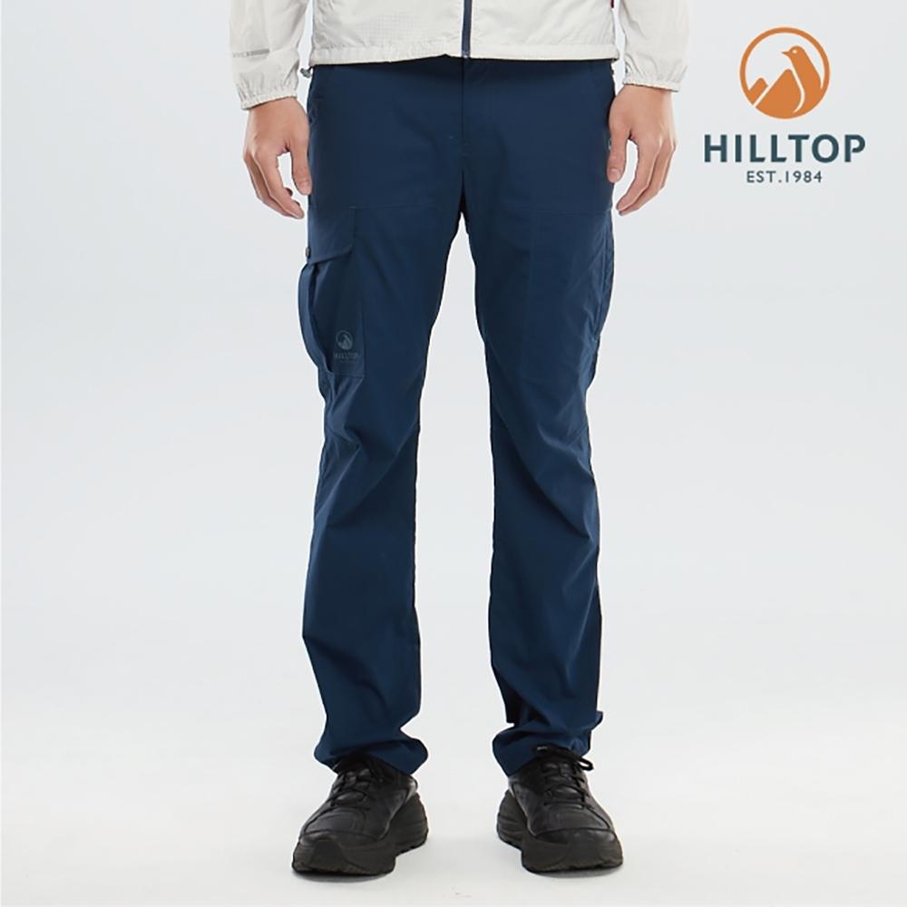 【hilltop山頂鳥】男款吸濕快乾彈性抗UV長褲S07MC9高貴藍