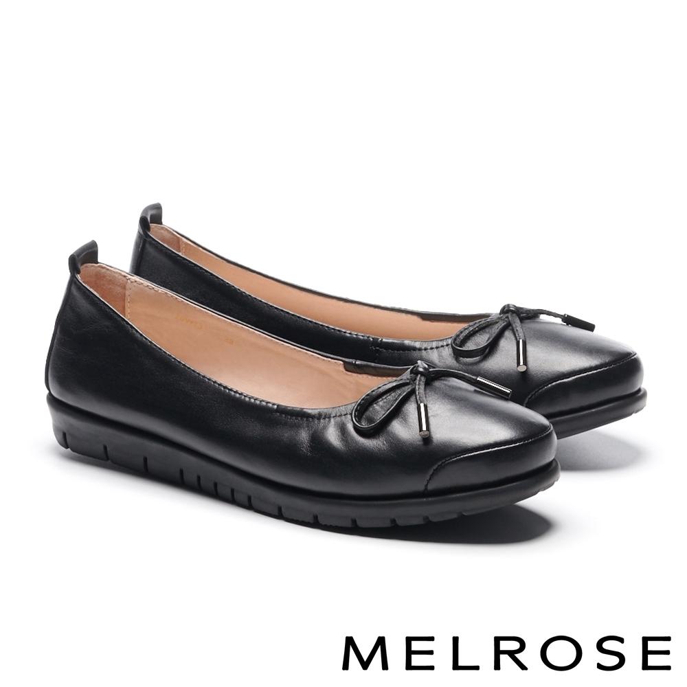 娃娃鞋 MELROSE 經典百搭蝴蝶結繫帶全真皮厚底娃娃鞋-黑