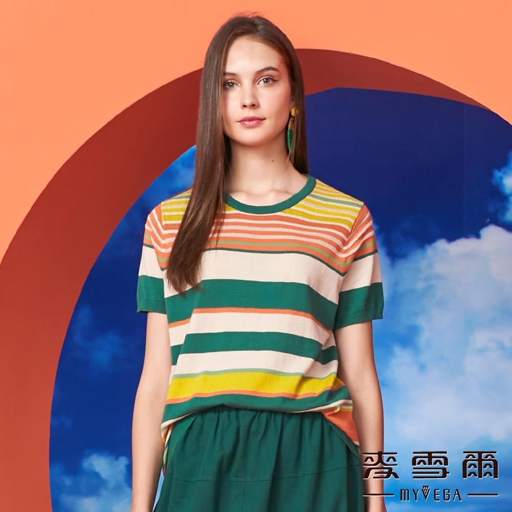【麥雪爾】純棉彩條鏤空針織衫-綠