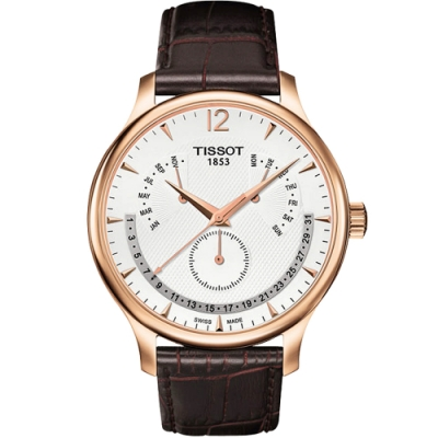 TISSOT 天梭 Tradition 逆跳復刻經典腕錶-白/42mm T0636373603700