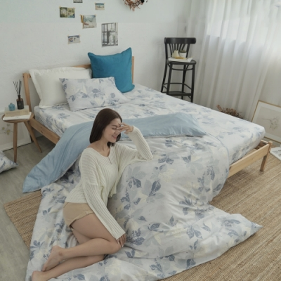 BUHO 台製300織100%TENCEL純天絲床包枕套三件組-雙人(晨清葉影)