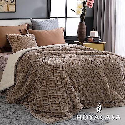 HOYACASA琥珀金 4D雪貂絨親膚加大厚毛毯(180x200cm)