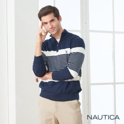 Nautica立領拉鍊條紋長袖細針織衫-深藍