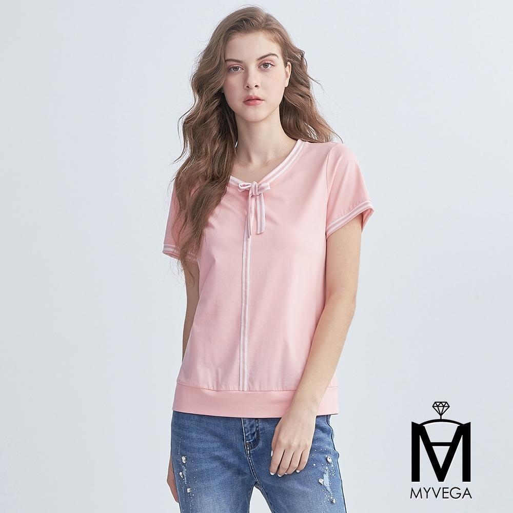 麥雪爾 MA高含棉知性綁帶線條上衣-粉
