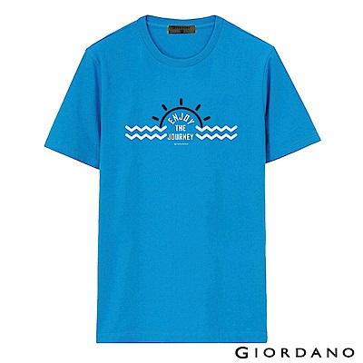 GIORDANO 男裝假期休閒印花T恤-40 鮮藍