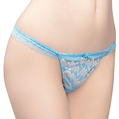 思薇爾 撩波羽晶伶系列M-XL蕾絲低腰丁字褲(湛浠藍)