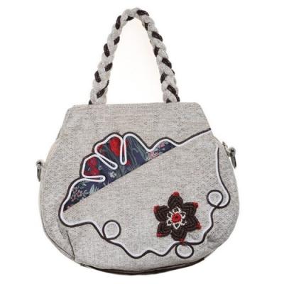 米蘭精品 手提包棉麻側背包-編織手提民族風小巧女包情人節生日禮物73ws24