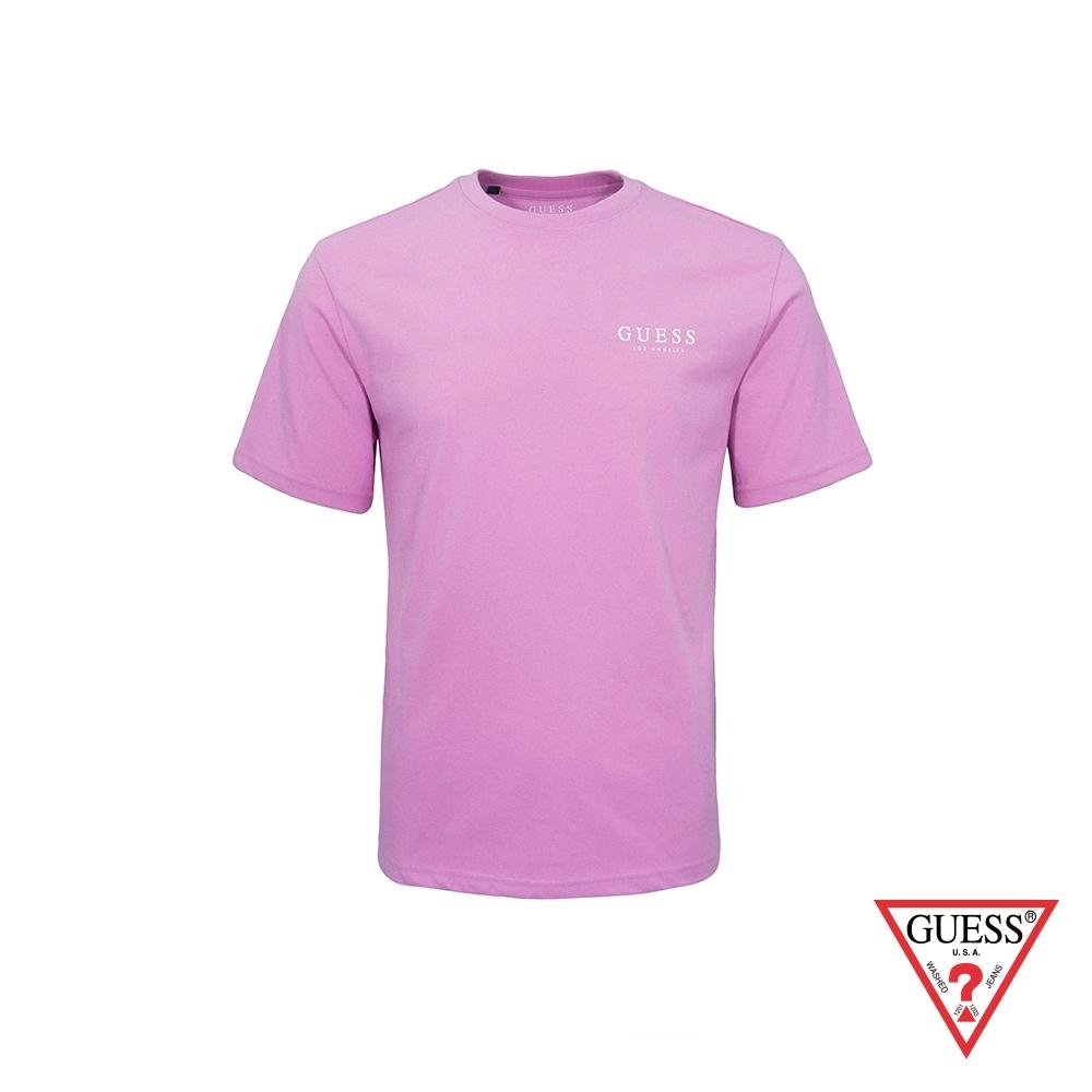 GUESS-男裝-經典素面LA印字短T,T恤-紫 原價1290