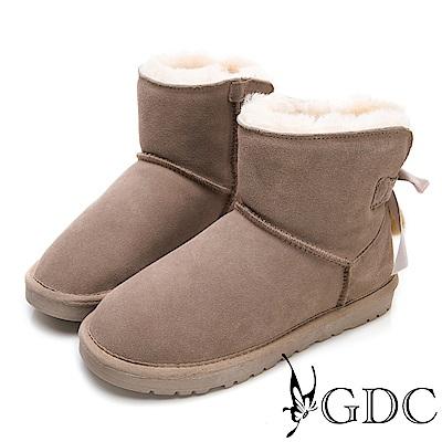 GDC-秋冬必備超夢幻狐狸毛緞帶蝴蝶結暖暖雪靴-豆沙色