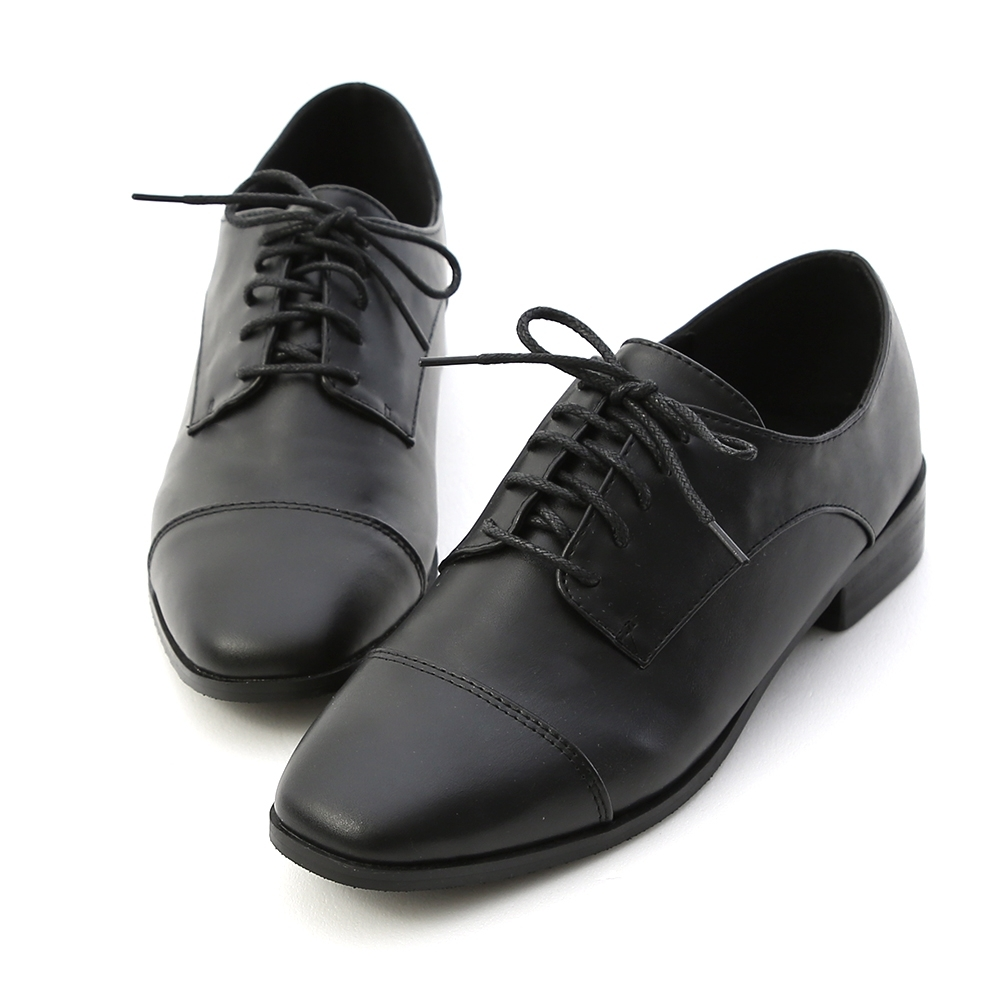 D+AF 紳士品味.復古方頭綁帶牛津鞋*黑