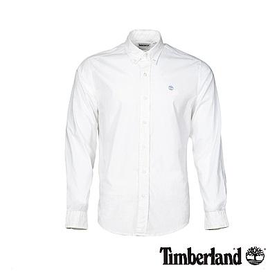 Timberland 男款白色彈力府綢長袖襯衫|A1LSN