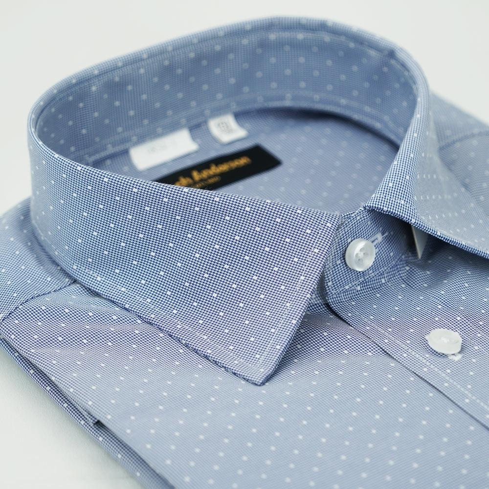【金‧安德森】藍色白點窄版長袖襯衫fast