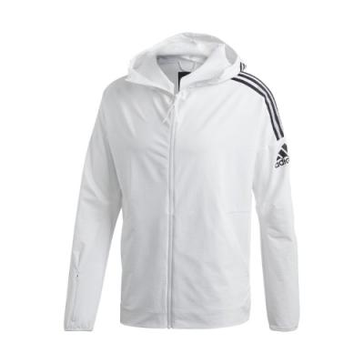 adidas 外套 Z.N.E. Jacket 運動休閒 男款 愛迪達 三線 連帽 尼龍 防風 穿搭 白 黑 FQ7227