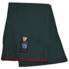 RALPH LAUREN POLO 小熊LOGO刺繡混羊毛圍巾(墨綠色)