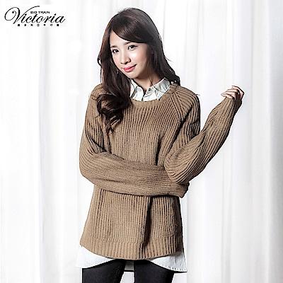Victoria 寬鬆長版拉克蘭長袖線衫-女-駝色