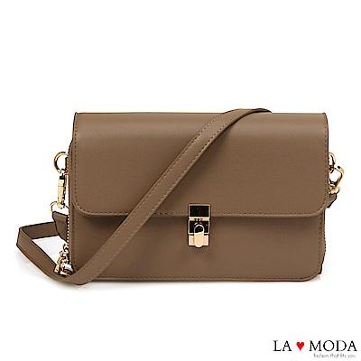 La Moda 優雅氣質首選超實用輕便雙層肩背斜背小方包(卡其)