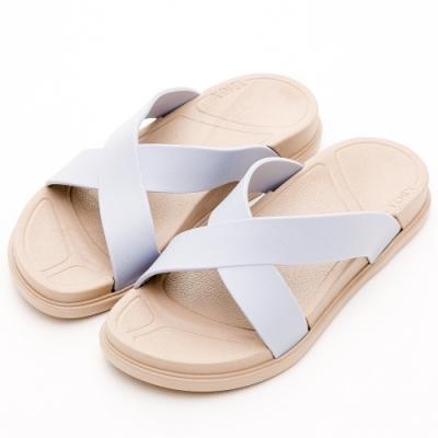 River&Moon拖鞋-寬版交叉Q軟輕量防水羅馬休閒拖鞋-灰藍