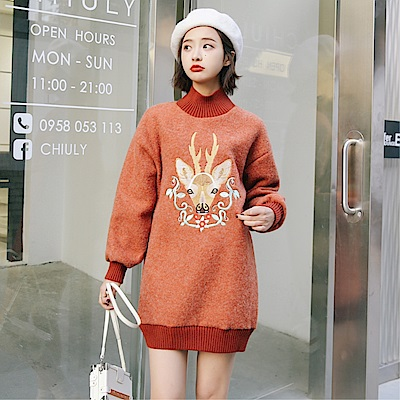 DABI 韓國風刺繡寬松顯瘦加厚毛呢長袖洋裝