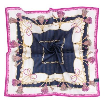 MARIO VALENTINO 燙銀LOGO流蘇繩結純綿帕巾-藍紫色
