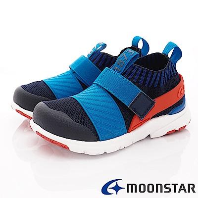 日本月星頂級競速童鞋 襪套忍者鞋款 TW2285藍(中小童段)