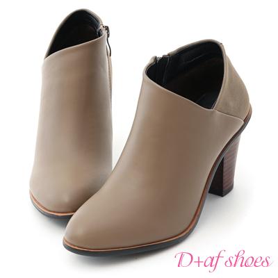 D+AF 優雅風尚.拼接設計側V口高跟短靴*灰